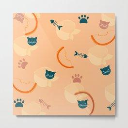 Cat loves Peaches Metal Print
