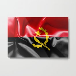 Angola Word With Flag Texture Metal Print