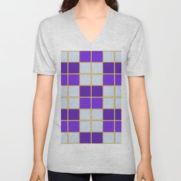 Purples and blues check Unisex V-Neck