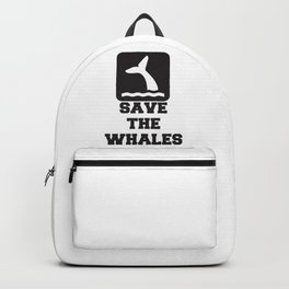SAVE THE WHALES Quote Backpack