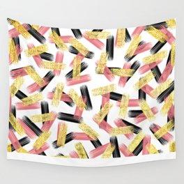 Elegant Pink, Black, and Gold Brushstroke Pattern Wall Tapestry