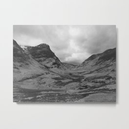 Scottish Highlands Glencoe Black & White Metal Print
