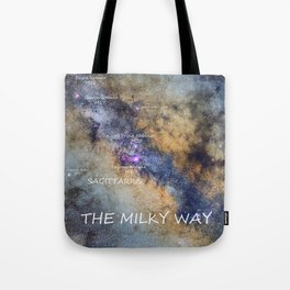 Star map version: The Milky Way and constellations Scorpius, Sagittarius and the star Antares. Tote Bag