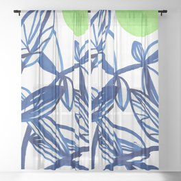 Navy blue and lime green abstract leaves Sheer Curtain