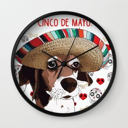 Cinco de Beagle Dog Wall Clock
