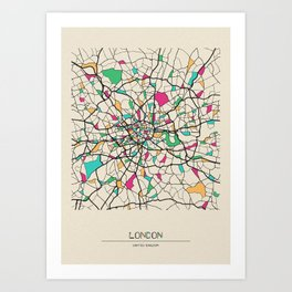 Colorful City Maps: London, United Kingdom Art Print