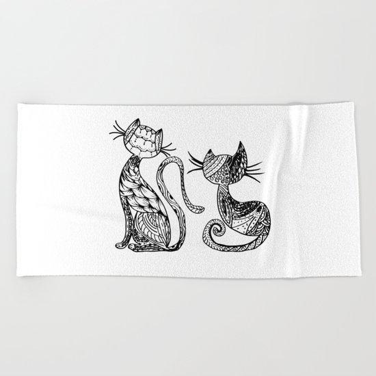 Mandala Cats Beach Towel