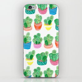 Cacti in fancy pots with smily faces. iPhone Skin