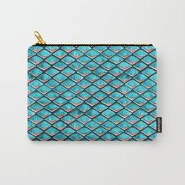 Teal blue and coral pink arapaima mermaid scales Carry-All Pouch