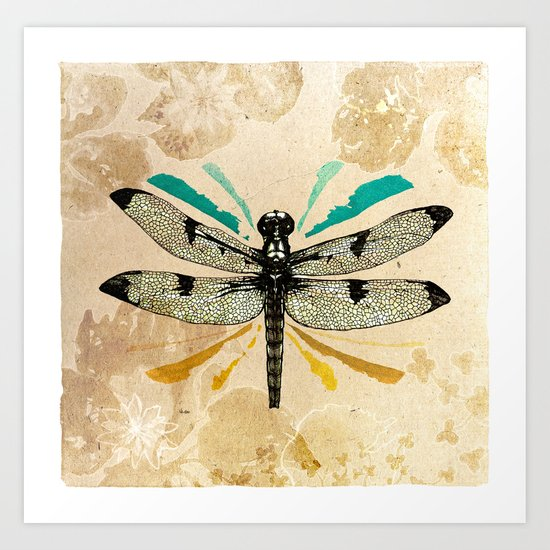 Autumn dragonfly Art Print