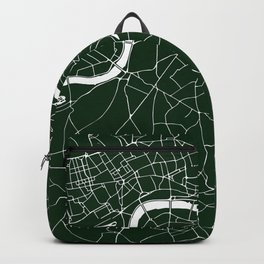 Green on White London Street Map Backpack