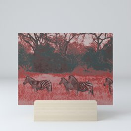 Small Zebra Herd - Red Mini Art Print