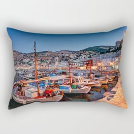 The picturesque harbor of Hydra in Greece by night Rectangular Pillow