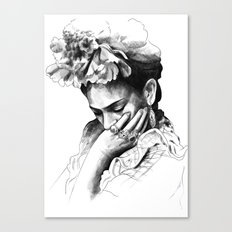 Frida Kahlo - pencil portrait Canvas Print