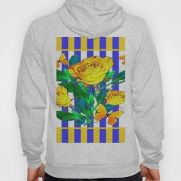 YELLOW SPRING ROSES & BUTTERFLIES WITH LILAC STRIPES Hoody