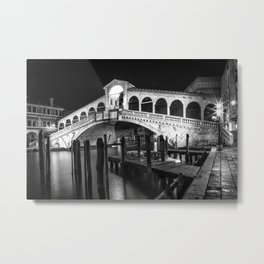 VENICE Rialto Bridge at Night | Monochrome Metal Print