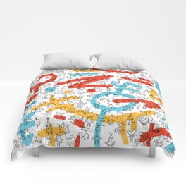 Creatures Red Blue Yellow Comforters