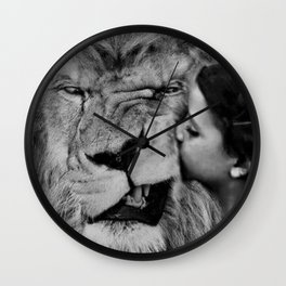 Grouchy Lion being kissed by brunette girl black and white photography Wall Clock