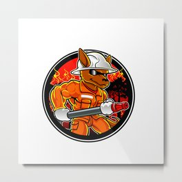 kangaroo firefighter extinguishes fire in forest Metal Print