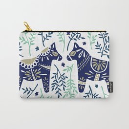 Swedish Dala Horse – Navy & Mint Palette Carry-All Pouch