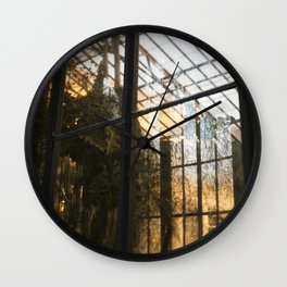 Golden Light in the Greenhouse Wall Clock