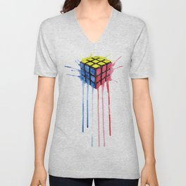 Watercolor Rubik Unisex V-Neck