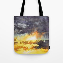 Watercolor Sky No 5 - colorful rain clouds Tote Bag