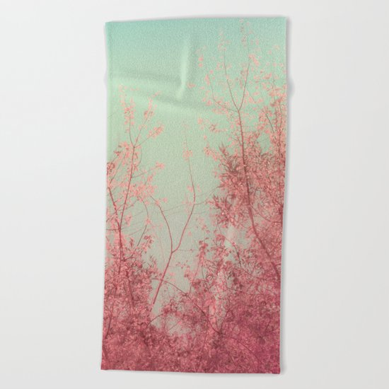 Harmony (Mint Blue Sky, Coral Pink Plants) Beach Towel