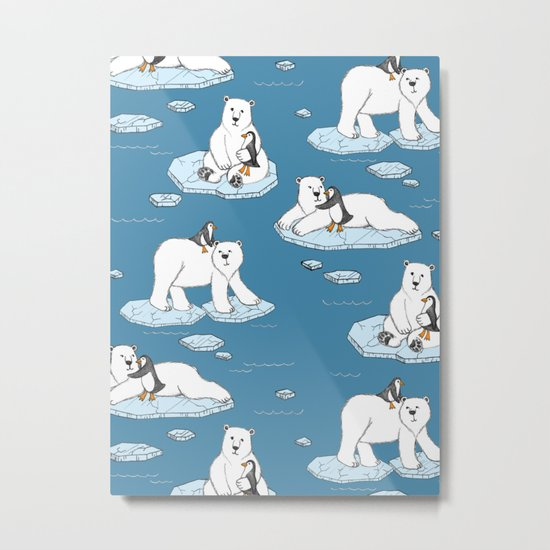Polar Bear Loves Penguin Metal Print
