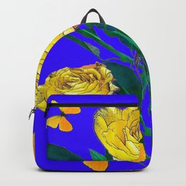 ROSES & YELLOW BUTTERFLIES INDIGO PURPLE VIGNETTE ABSTRACT Backpack