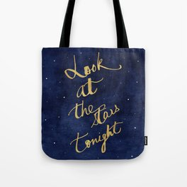 Starry Night Sky Art, Celestial Astronomy Stars Quote Art Print Poster, Celestial Nursery Decor Tote Bag