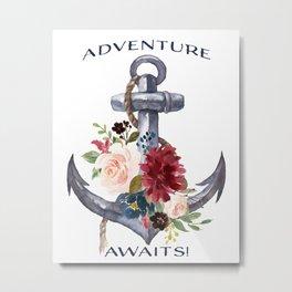 Watercolour Adventure Awaits Anchor Burgundy Pink Floral Metal Print