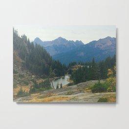 Mountains Evergreen Trees Lakes Metal Print