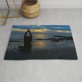 Tranquil beach meditation Rug