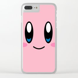 Kirby Face (Pink) Clear iPhone Case