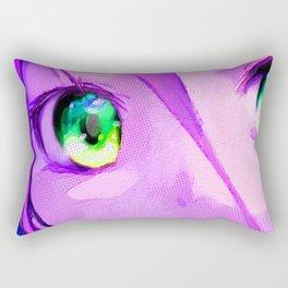 Anime Girl Eyes Pink Rectangular Pillow