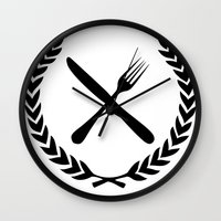 eat Wall Clocks featuring Eat by Noah Zark