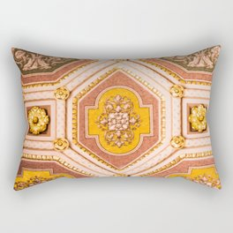 Yellow and Pink Hungarian Architectural Ceiling Photograph Abstract Art Print Rectangular Pillow