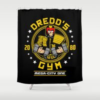 law Shower Curtains featuring I'm the law - Gym by Buby87