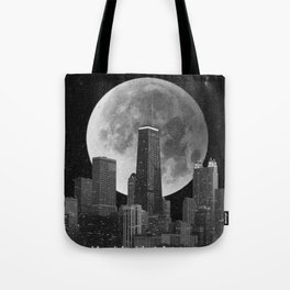 Full Moon Over Chicago Illinois Skyline Tote Bag
