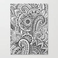paisley Canvas Prints featuring Paisley by Emma Lin