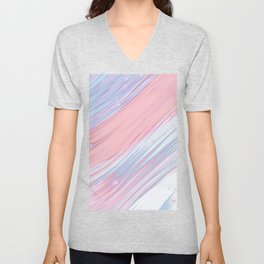 Abstract watercolor pink blue lavender white brushstrokes Unisex V-Neck