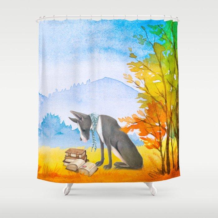 Autumn Dog Shower Curtain