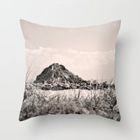 monkey island Throw Pillows featuring Monkey Island, Southland, New Zealand by the penny drops