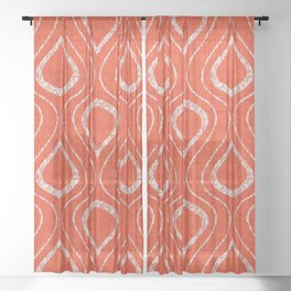 Flame Trellis in Orange and White Sheer Curtain