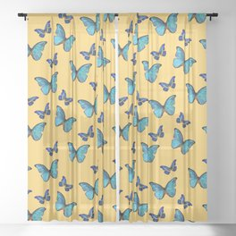 Blue Yellow Butterfly Glam #1 #pattern #decor #art #society6 Sheer Curtain