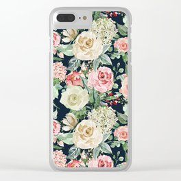 Country chic navy blue pink ivory watercolor floral Clear iPhone Case