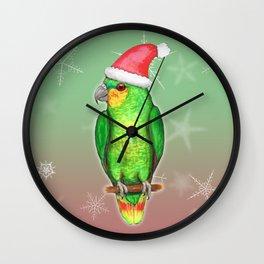Christmas amazon parrot Wall Clock