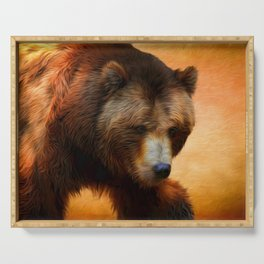 Grizzly Bear Painted Serving Tray