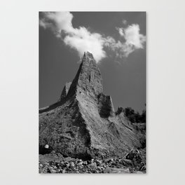 Chimney Bluff Rural Black and White Landscape Photograph Canvas Print